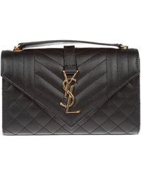 14e28228199 Saint Laurent - Monogram Ysl Envelope Small Chain Shoulder Bag - Golden  Hardware - Lyst