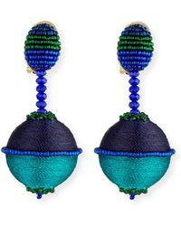 Oscar de la Renta - Beaded Drop Clip-on Earrings - Lyst