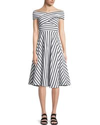 MILLY - Jill Striped Off-the-shoulder Dress - Lyst