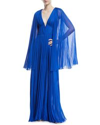 J. Mendel - Hand-pleated V-neck Cape Gown - Lyst