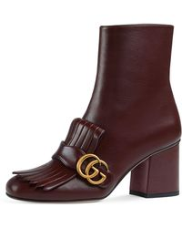 5036d08cbe6 Gucci - GG Marmont Kiltie Fringe Leather Booties - Lyst
