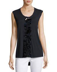 Elie Tahari   Harley Sleeveless Feather-trim Knit Top   Lyst