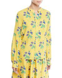 Novis - Harlow Button-front Long-sleeve Floral-print Silk Blouse - Lyst
