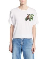 "Oscar de la Renta - T-shirt With Beaded ""monkey"" - Lyst"