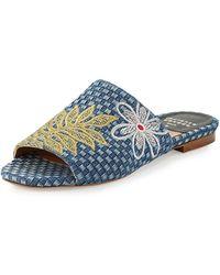 Laurence Dacade | Nice Embroidered Denim Slide Sandals | Lyst