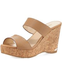 Jimmy Choo - Parker Textured Leather Two-band Sandal - Lyst