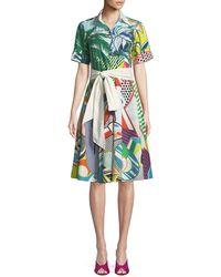Mary Katrantzou - Short-sleeve Button-down Tie-waist Pop-art Print Cotton Shirtdress - Lyst