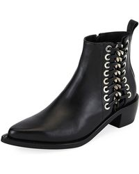 Alexander McQueen - Side Lace-up Leather Boot - Lyst