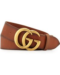 f228cecbfbc Gucci - Men s Leather Belt With Double-g Buckle - Lyst