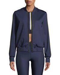 Ultracor - Silk Collegiate Side-stripe Bomber Jacket - Lyst