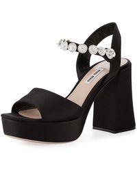 602844930983 Lyst - Miu Miu Embellished Satin And Velvet Platform Sandals in Black
