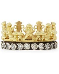 Armenta - 18k Gold & Midnight Diamond Crown Ring - Lyst
