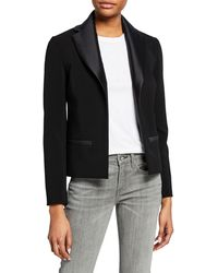 Harvey Faircloth - Satin Open-front Fitted Blazer - Lyst