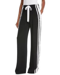 Naeem Khan - High-waist Drawstring-waist Stretch-silk Pants With Side Stripe - Lyst