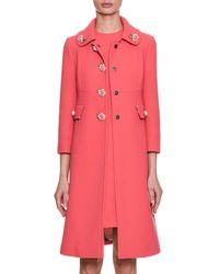 Dolce & Gabbana - Single-breasted Crepe Wool Coat W/ Rose Appliqués - Lyst