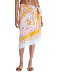 Emilio Pucci - Postcards Printed Cotton Pareo Coverup - Lyst