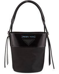 afe51238dbc812 Prada Tessuto Mini Bucket Crossbody Bag in Black - Lyst