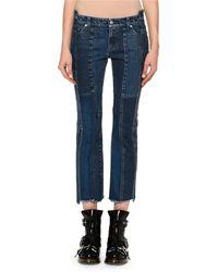 Alexander McQueen - Cropped Patchwork Denim Jeans - Lyst