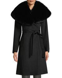 Fleurette - Oversize Fur-collar Wool Wrap Coat - Lyst