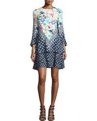 Peter Pilotto - Mixed-print 3/4-sleeve Flutter Dress - Lyst