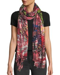Burberry - Vintage Check Printed Gauze Scarf - Lyst