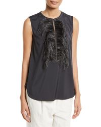 Brunello Cucinelli - Feather-embellished Sleeveless Top - Lyst