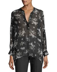 Vince - Tossed Floral-print Shirred Sheer Silk Blouse - Lyst