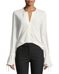 10 Crosby Derek Lam - Bell-sleeves Button-down Blouse With Scalloped Trim - Lyst