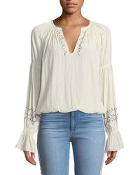 Ramy Brook - Antonia Embellished Silk Peasant Top - Lyst