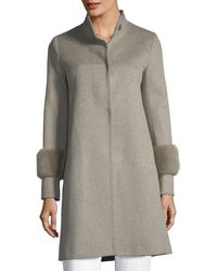 Fleurette - Single-breasted Wool Coat W/ Mink Cuffs - Lyst