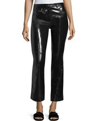 Helmut Lang - Patent Leather Flared-leg Crop Pants - Lyst
