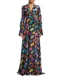 Libertine - Punk Rock Floral-print Long-sleeve Silk Wrap Dress - Lyst