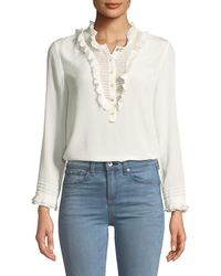 Rebecca Taylor - Ruffled Long-sleeve Button-front Silk Top - Lyst