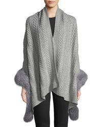Sofia Cashmere - Staghorn Chunky Knit Wrap W/ Fur Trim - Lyst