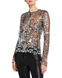 Naeem Khan - Long-sleeve Semisheer Embellished Illusion Top - Lyst