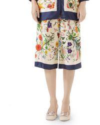 Gucci - Floral-print Silk Twill Cropped Pyjama Culottes - Lyst