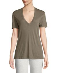Monrow - Studded V-neck Cotton Tee - Lyst