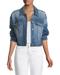 7 For All Mankind - Bubble Button-front Denim Jacket - Lyst