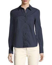 10 Crosby Derek Lam - Long-sleeve Button-front Cotton Shirt With Ruffle Detail - Lyst