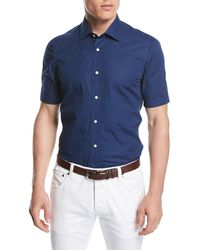 Isaia - Stitched Floral Short-sleeve Cotton Shirt - Lyst
