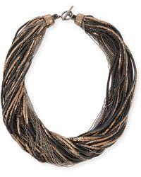 Brunello Cucinelli - Metallic Leather Multi-strand Monili Necklace - Lyst
