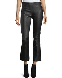 Helmut Lang | Leather Mid-rise Crop Flare Pants | Lyst