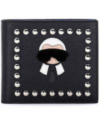 Fendi - Karlito Bi-fold Leather Wallet W/mink Fur Details - Lyst