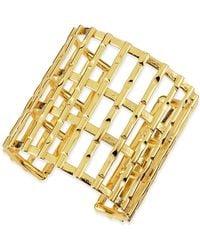 Nest - Gold Plated Bamboo Lattice Cuff - Lyst