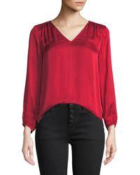 Velvet - Rohana V-neck Viscose Long-sleeve Top - Lyst