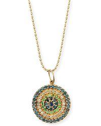 Sydney Evan - Concentric Eye Diamond & Sapphire Necklace - Lyst