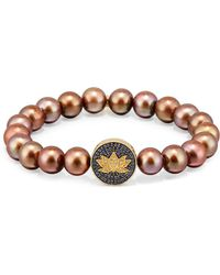 Sydney Evan - Brown Potato Pearl Bracelet With Sapphire & Diamond Lotus Station - Lyst