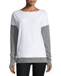 Blanc and Noir - Cross-back Colorblock Sweatshirt - Lyst