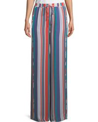 Ramy Brook - Dorota Wide-leg Striped Silk Pull-on Pants - Lyst