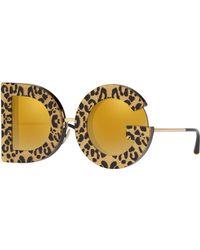 943b8d33a322 Dolce & Gabbana - Shimmer Leopard Print D & G Mirrored Sunglasses - Lyst